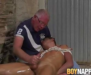 Young tied up lad oiled for..