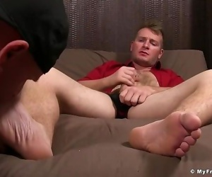 Relieved fellow gets soles..