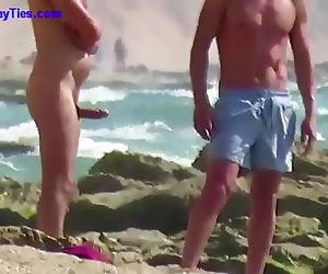 Fat Boner on a Russian Beach..